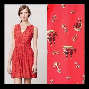 Anthropologie leifnotes red skipper dress